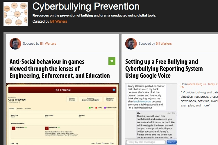 Screenshot of Scoopit collection on Cyberbullying Prevention.