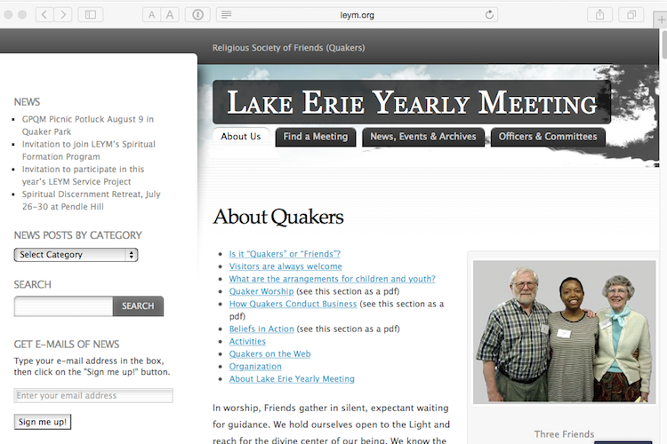Quaker Lake Erie Yearly Meeting website screenshot