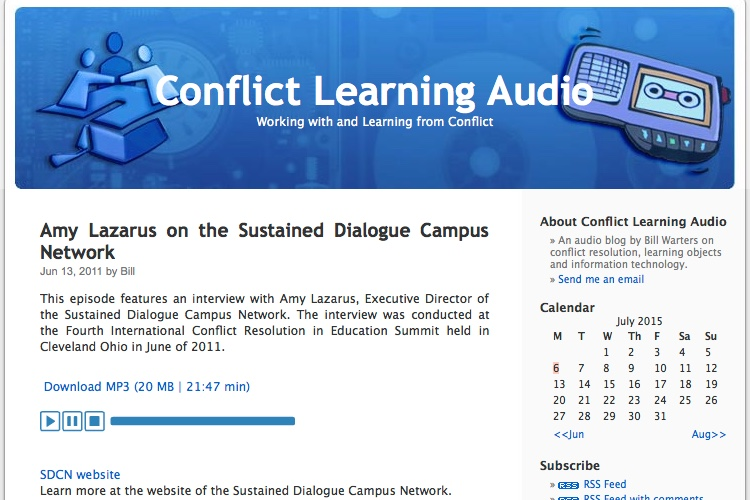 Conflict Learning Audio Podcast site screenshot.
